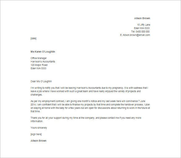 Immediate Resignation Letter Due To Pregnancy  Free Sample Resignation Letter Template