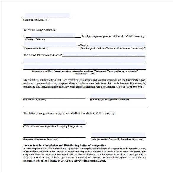 7 Immediate Resignation Letter Templates Free Sample Example – Immediate Resignation Letter