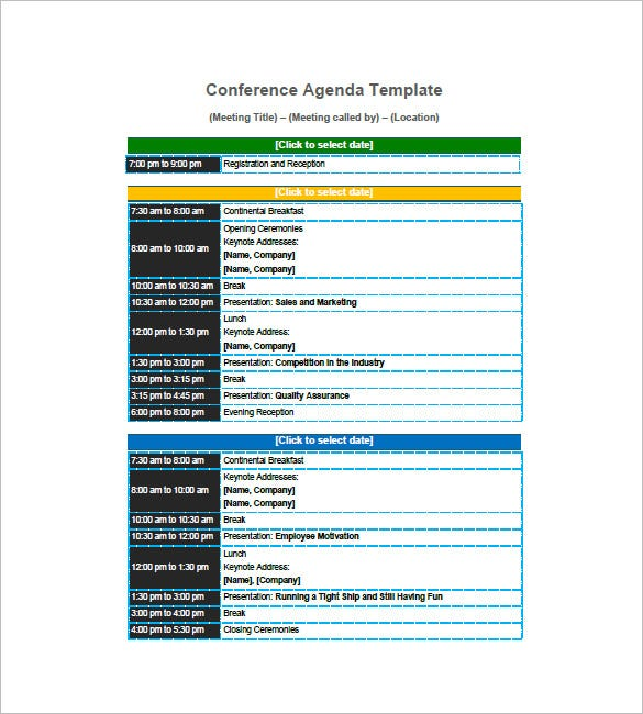 Agenda Planner Template   Free Word Excel Pdf Format Download