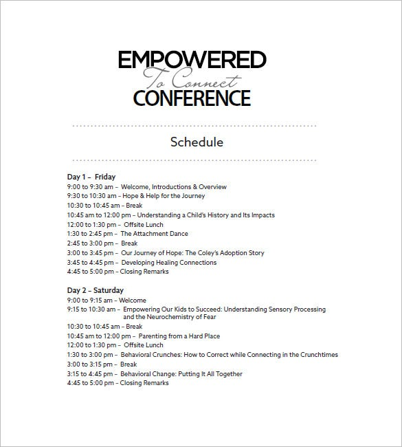 Agenda Planner Template 8 Free Word Excel PDF Format Download – Conference Schedule Template