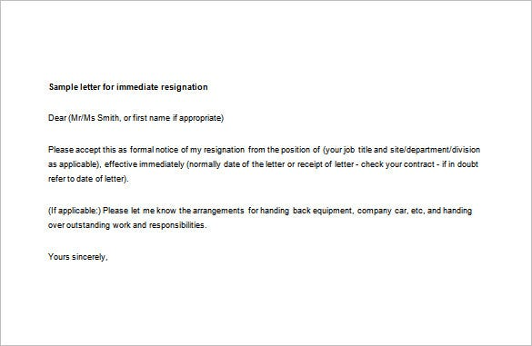7 Immediate Resignation Letter Templates Free Sample Example – Resignation Letter Free
