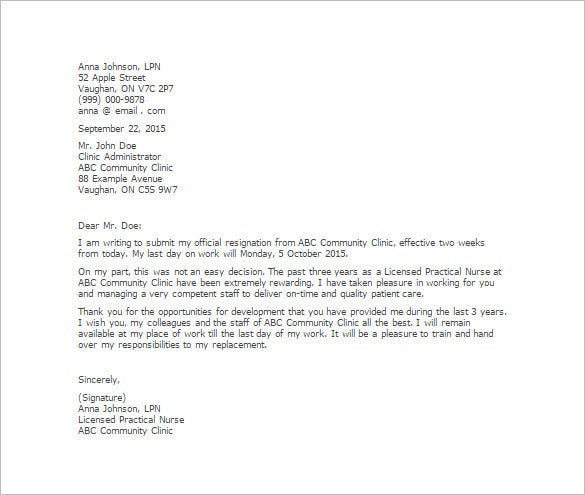 2 Week Notice Nursing Resignation Letter Template