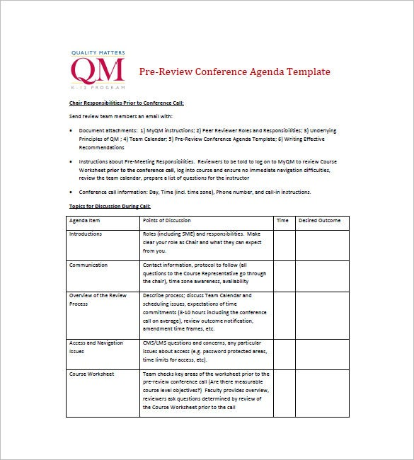 Simple Agenda Template   Free Word Excel Pdf Format Download