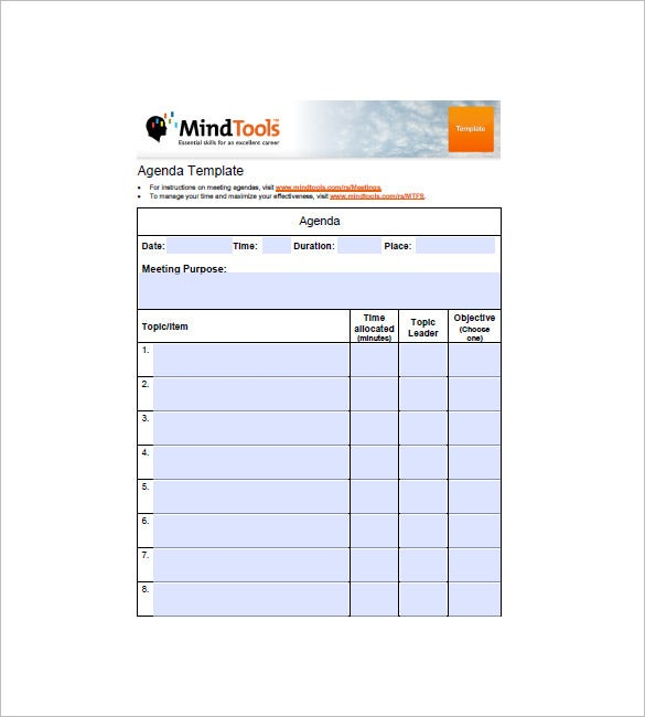 8 Simple Agenda Templates Free Sample Example Format Download – Sample of Agenda Format