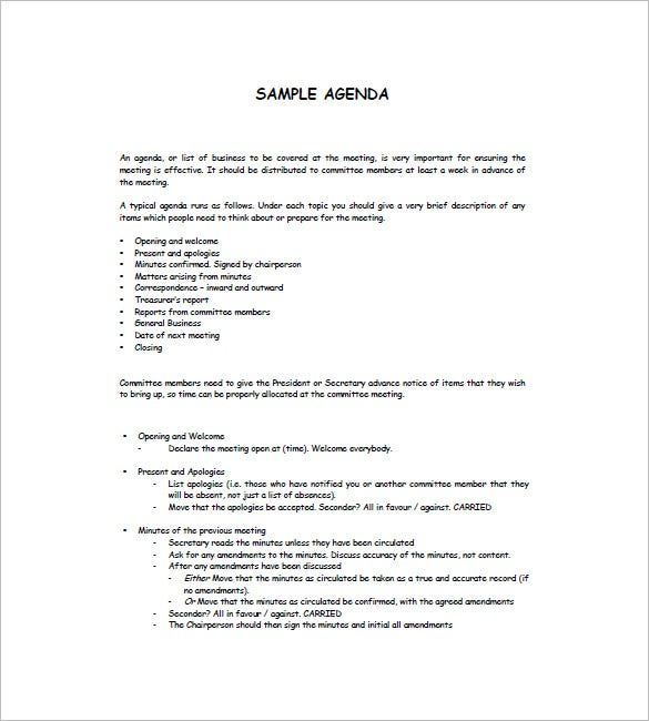 Sample Agenda Template  Agenda Sample Template