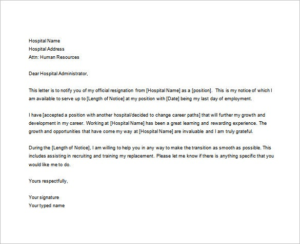 Nursing Resignation Letter Templates  Free Sample Example
