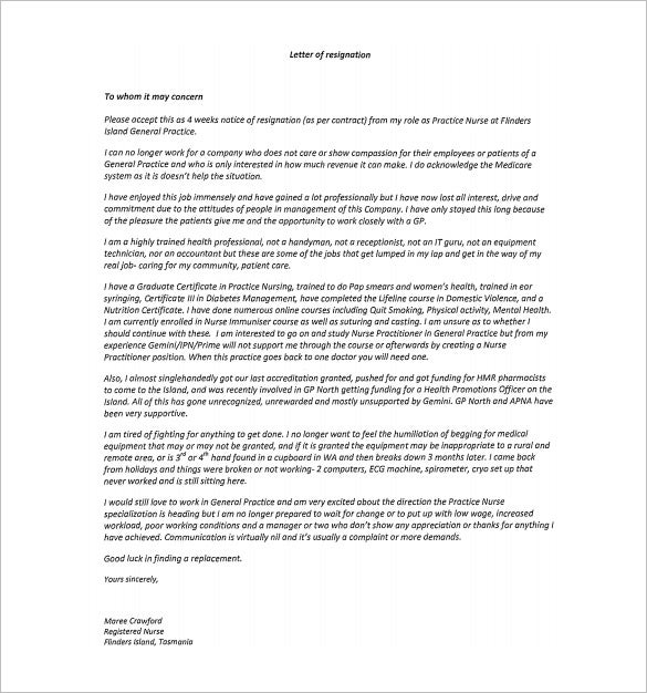 8 Nursing Resignation Letter Templates Free Sample Example – Rn Resignation Letter