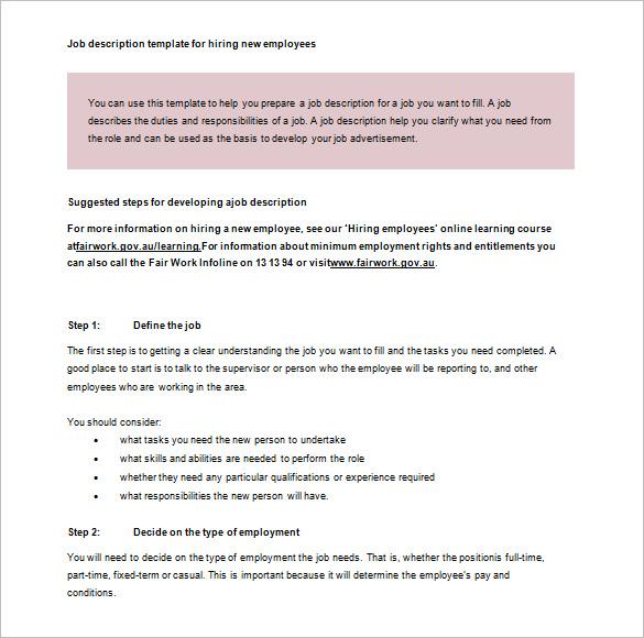 job description template  u2013 28  free word  excel  pdf