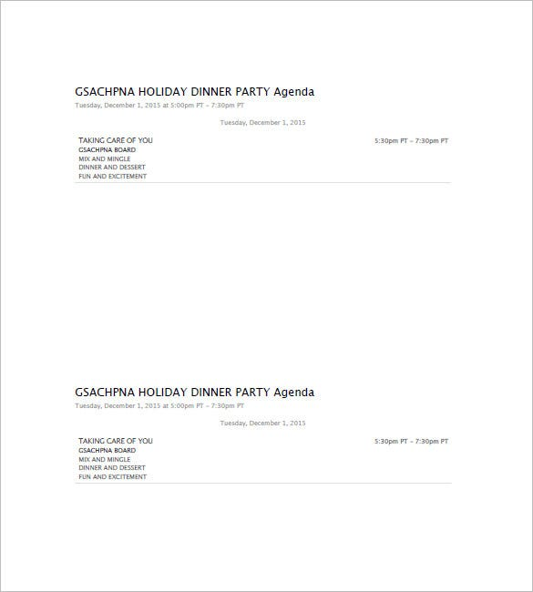 dinner party agenda template