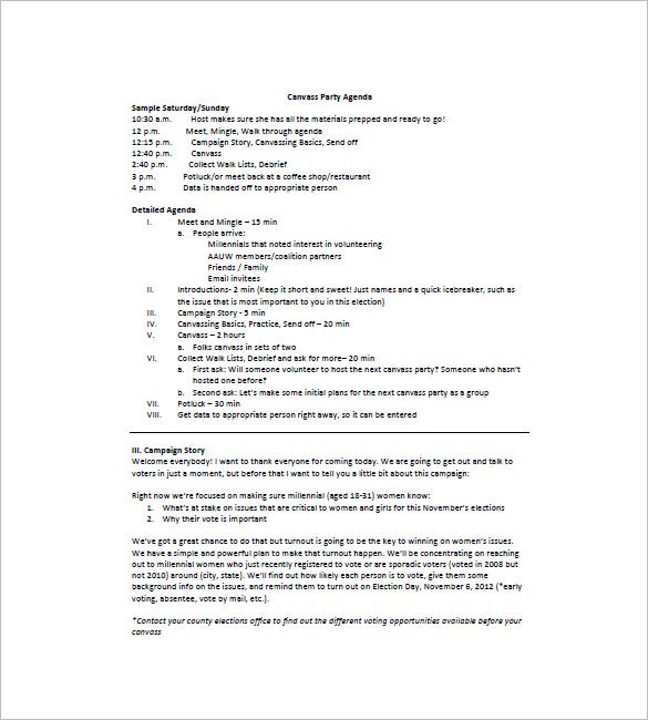 Party Agenda Template   Free Word Excel Pdf Format Download