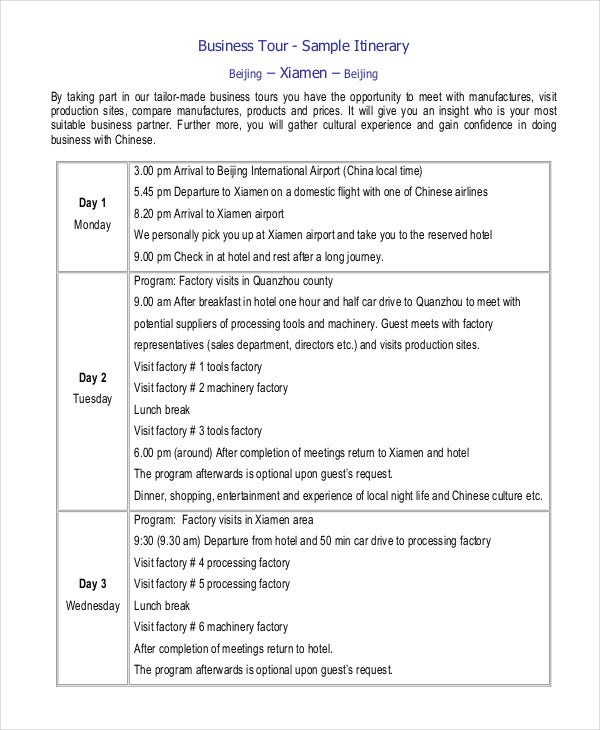 Printable Travel Itinerary Template   Free Word Pdf Documents