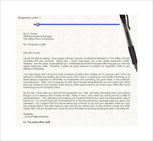 funny resignation letters 5 resignation letter templates free sample 12035 | Funny Resignation Letter Template to Manager