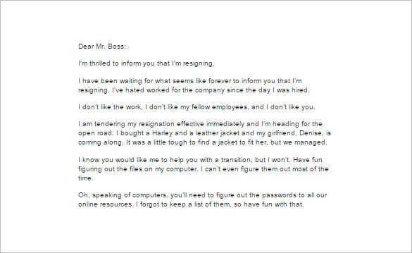 very funny resignation letter template to company