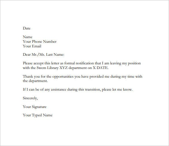 Example Of Resignation Letter Templates  Free Sample Example