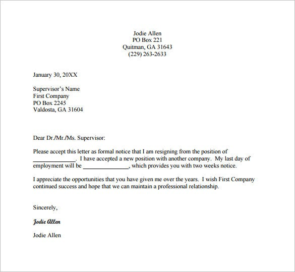 Email Resignation Letter To Supervisor Free PDF Template