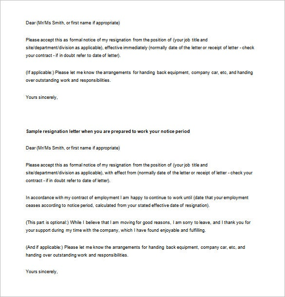 Email Resignation Letter Template 10 Free Word Excel PDF – Letter Asking for Resignation