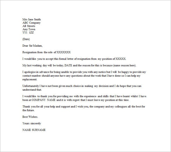 email resignation letter template without notice period