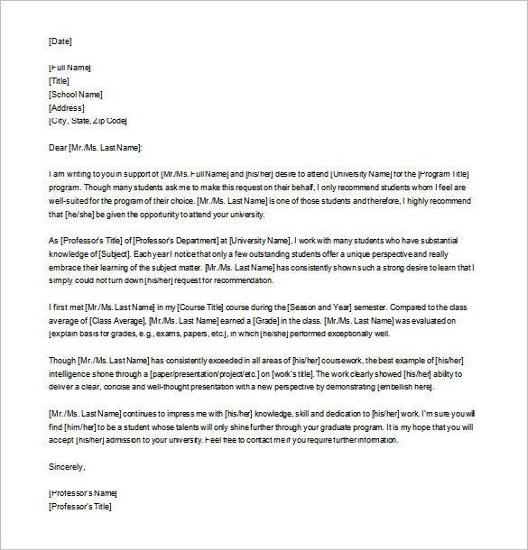 sample letter of recommendation for graduate school format