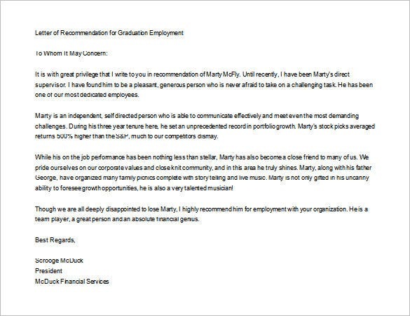 sample letter of recommendation for graduate school download