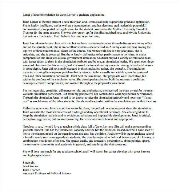 sample graduate school recommendation letter from professor - Kubre ...