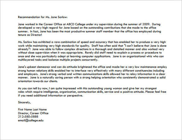Sample Recommendation Letter For Graduate School From Employer