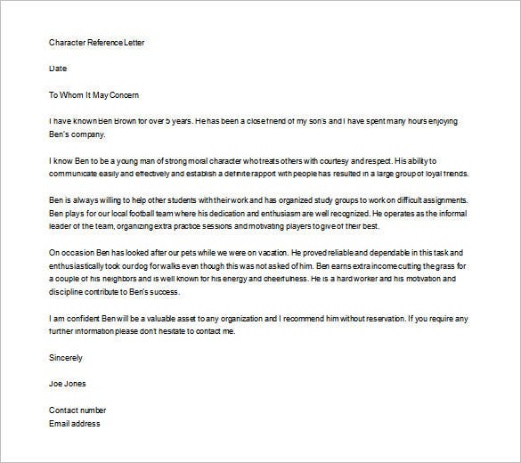 editable personal letter of recommendation for employment