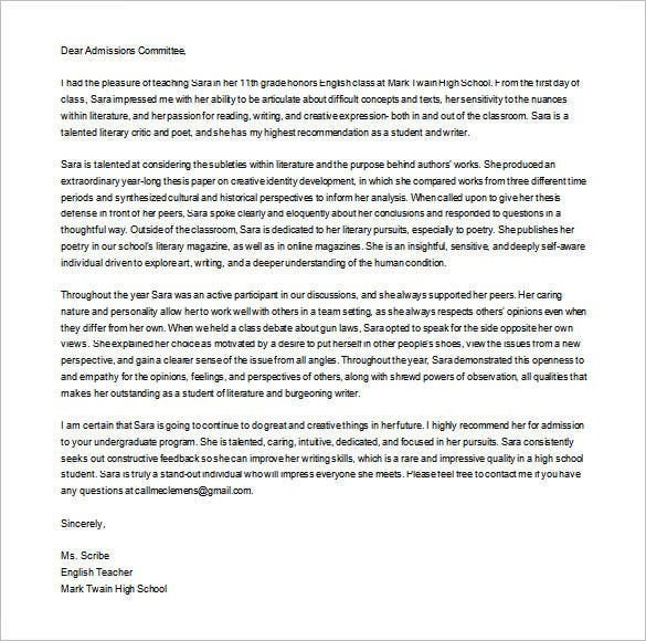 free download personal letter of recommendation for college
