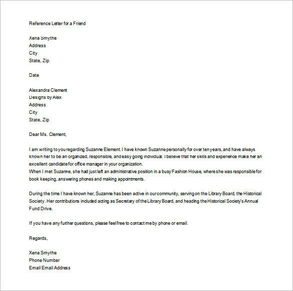 Personal Letter Of Recommendation  Free Sample Example