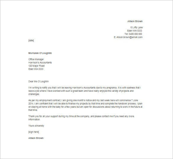 Employee Resignation Letter Templates  Free Sample Example