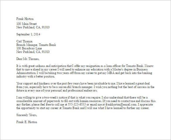 bank employee resignation letter template