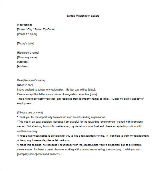 13 Employee Resignation Letter Templates Free Sample Example – Resign Letter Word Format