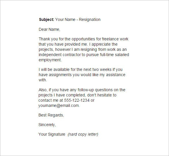 contract employee resignation letter example template