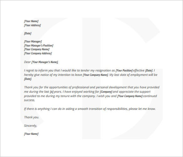 sample employee resignation letter with notice free pdf template