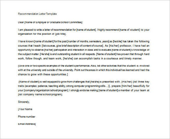 free letter of recommendation for student from teacher example