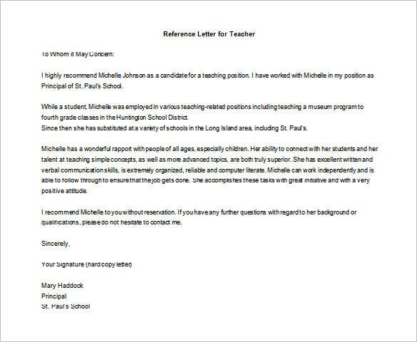 printable letter of recommendation for teaching position format