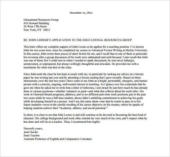 Sample Recommendation Letter For A Teacher Colleague  Cover Letter