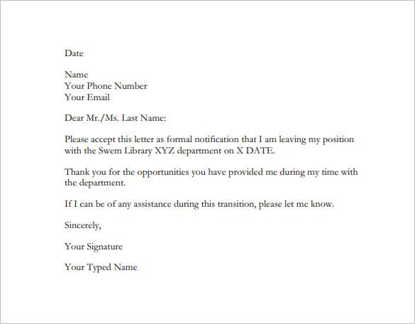 Employee Resignation Letter Template 8 Free Word Excel PDF – Formal Resignation Letters