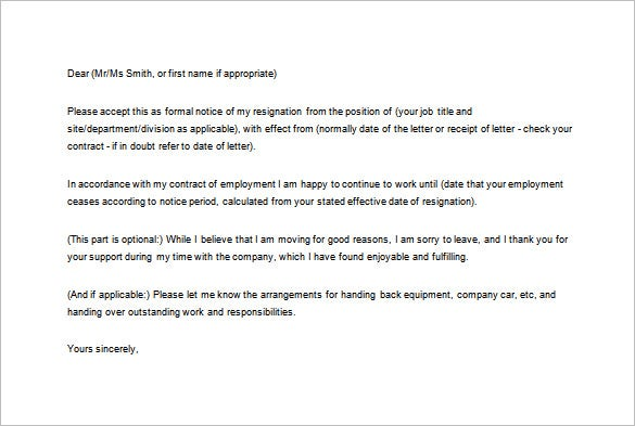 formal notice of resignation letter free word download