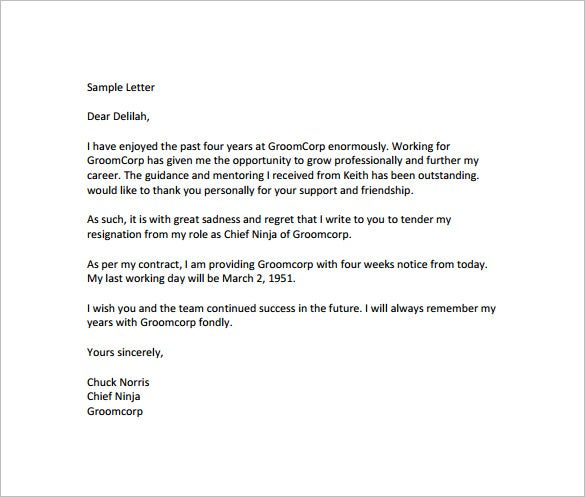 Notice of Resignation Letter Template 10 Free Word Excel PDF – 30 Day Notice Template