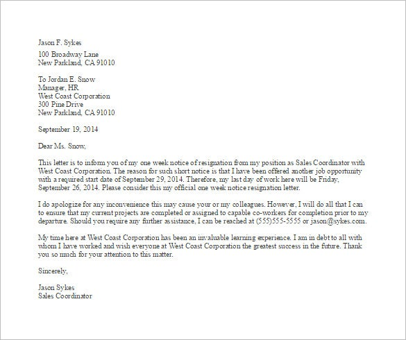 Sample One Week Notice Resignation Letter Template