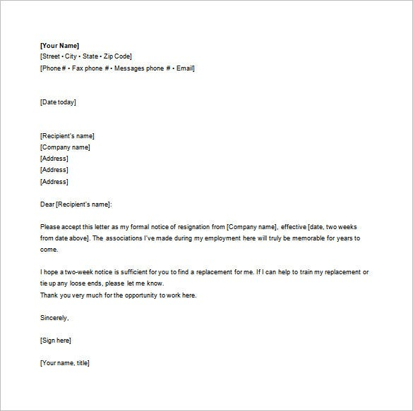 standard notice resignation letter example word free download
