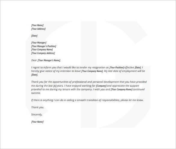 reasonable notice of resignation letter free pdf template