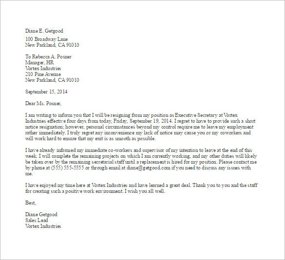 Short Notice Resignation Letter Example Template