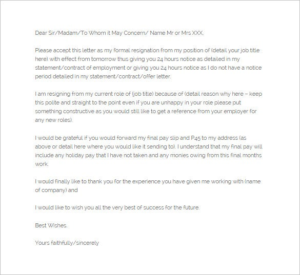 24 hours notice of resignation letter template