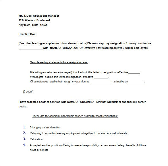 30 days notice of resignation letter sample