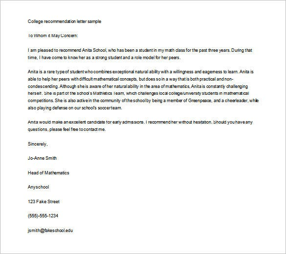Editable College Recommendation Letter Template Word Doc