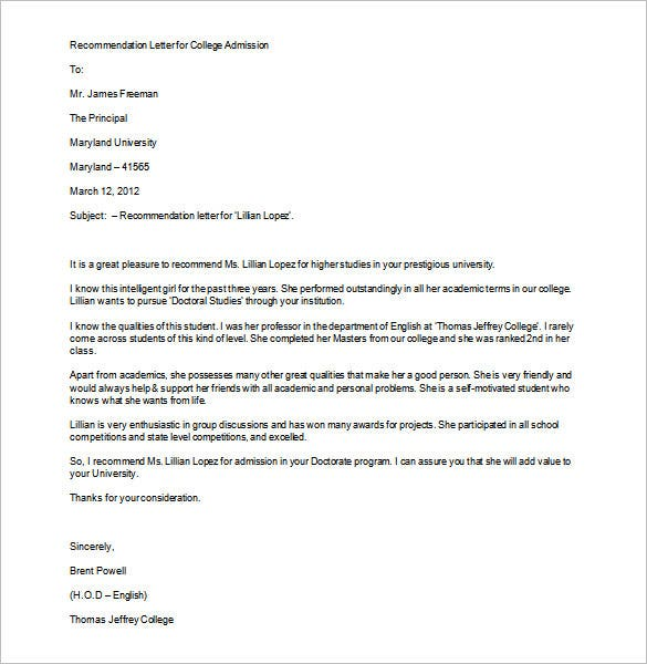 recommendation letter for college admission word format