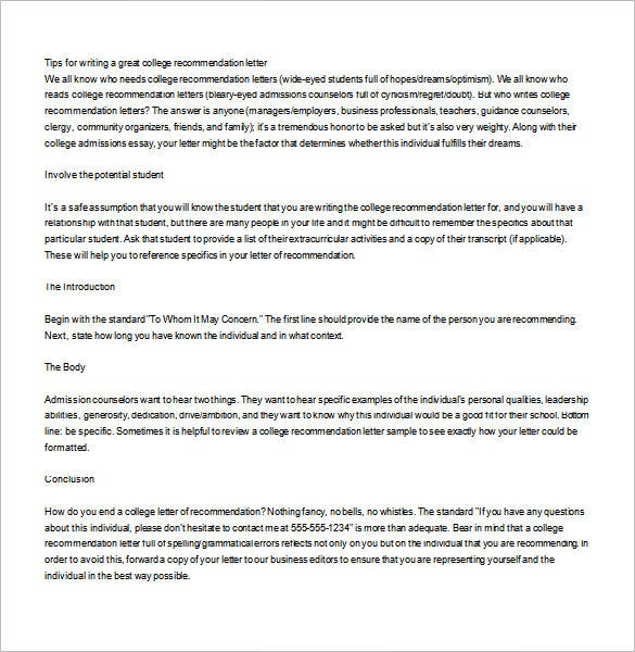 Beautiful The Printable College Recommendation Letter Suffices For An Appropriate  Guide To New And Young Professors To Draft An Appropriate Letter Of  Recommendation ...