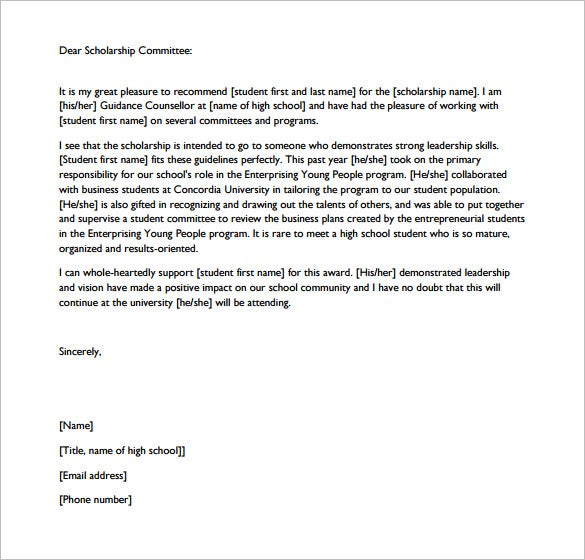 Letter Of Recommendation For Scholarship   Free Word Excel