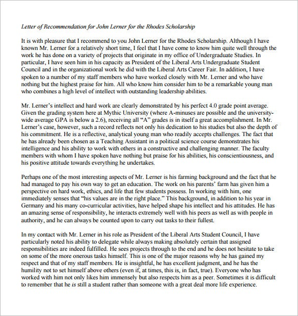 sample letter of recommendation for scholarship from boss pdf
